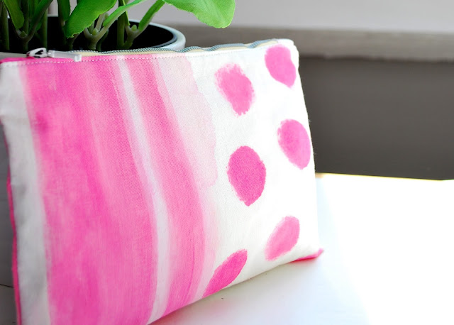 Hot pink - zipper pouch - hand painted
