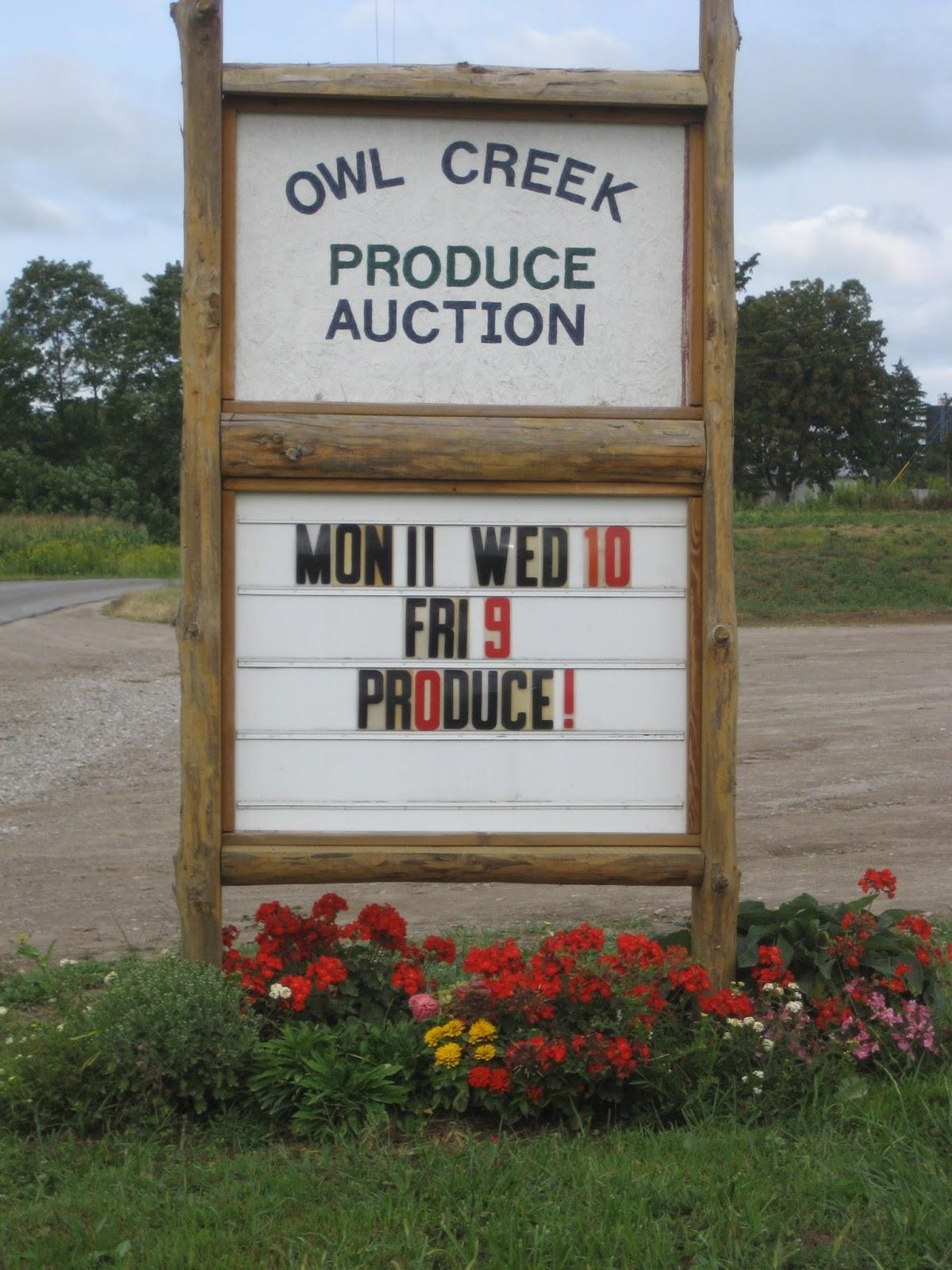 Owl creek produce auction 06 15 15 for Owl creek