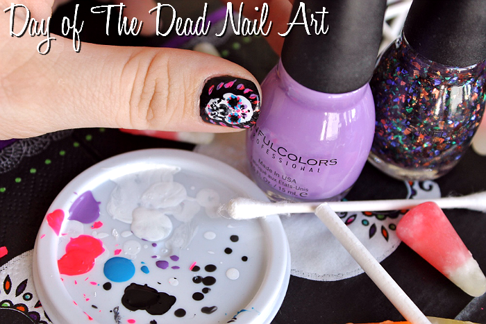 Day of The Dead Nail Art- Fall Nail Trends with Sinful Colors- Splatter Spell, Glow In The Dark, Mystery Moonshine, Pumpkin Spice, and Cauldron Couture