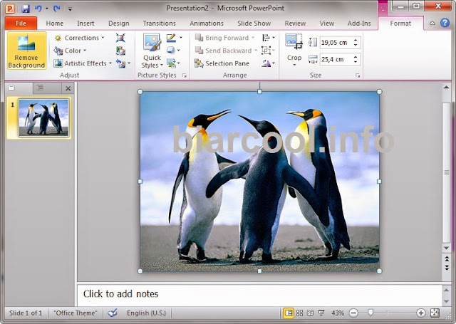 menu hilangkan background objek di powerpoint