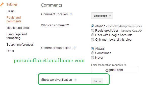 turning off word verification