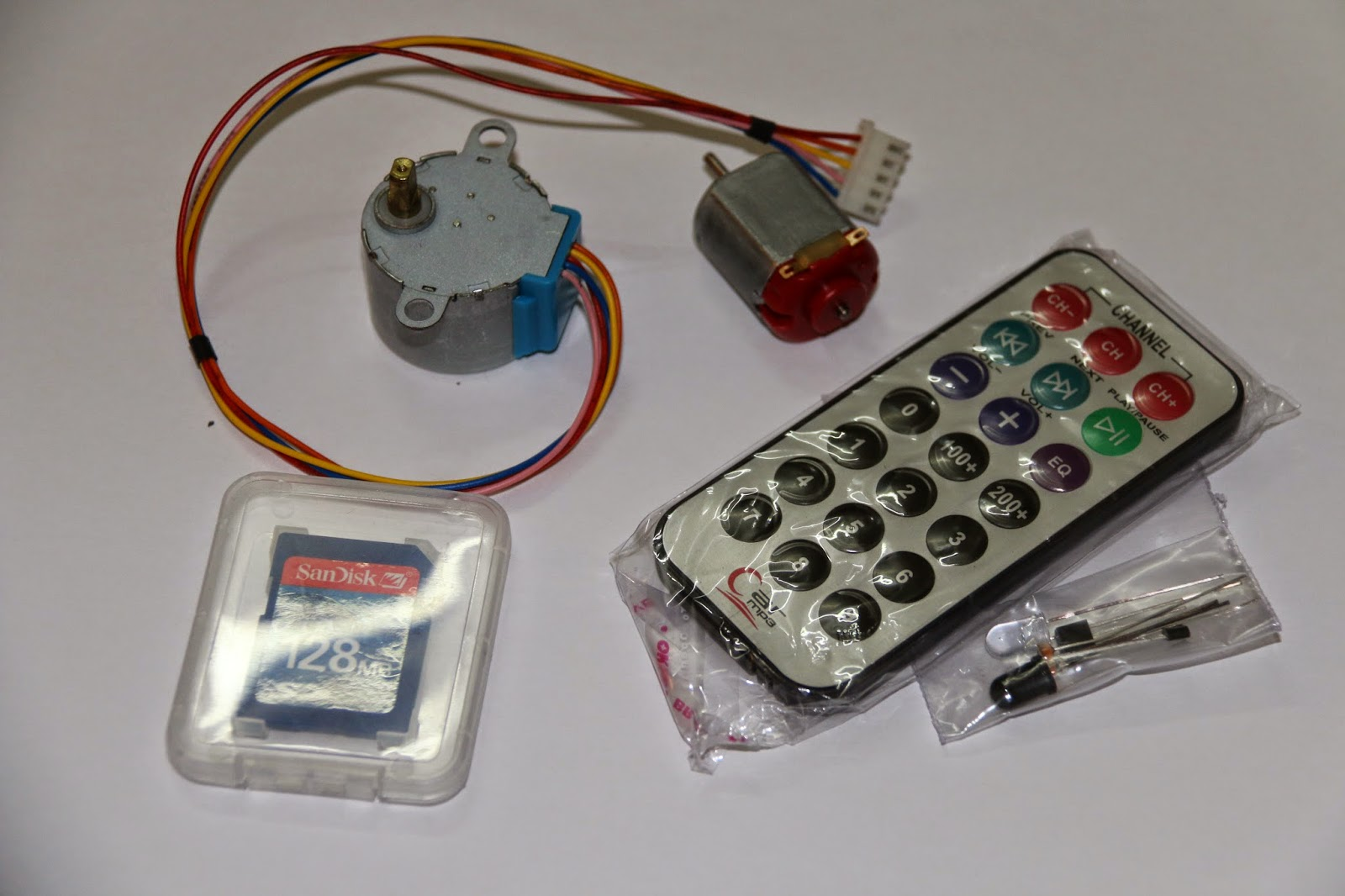 sensors, remote, sd card, motors