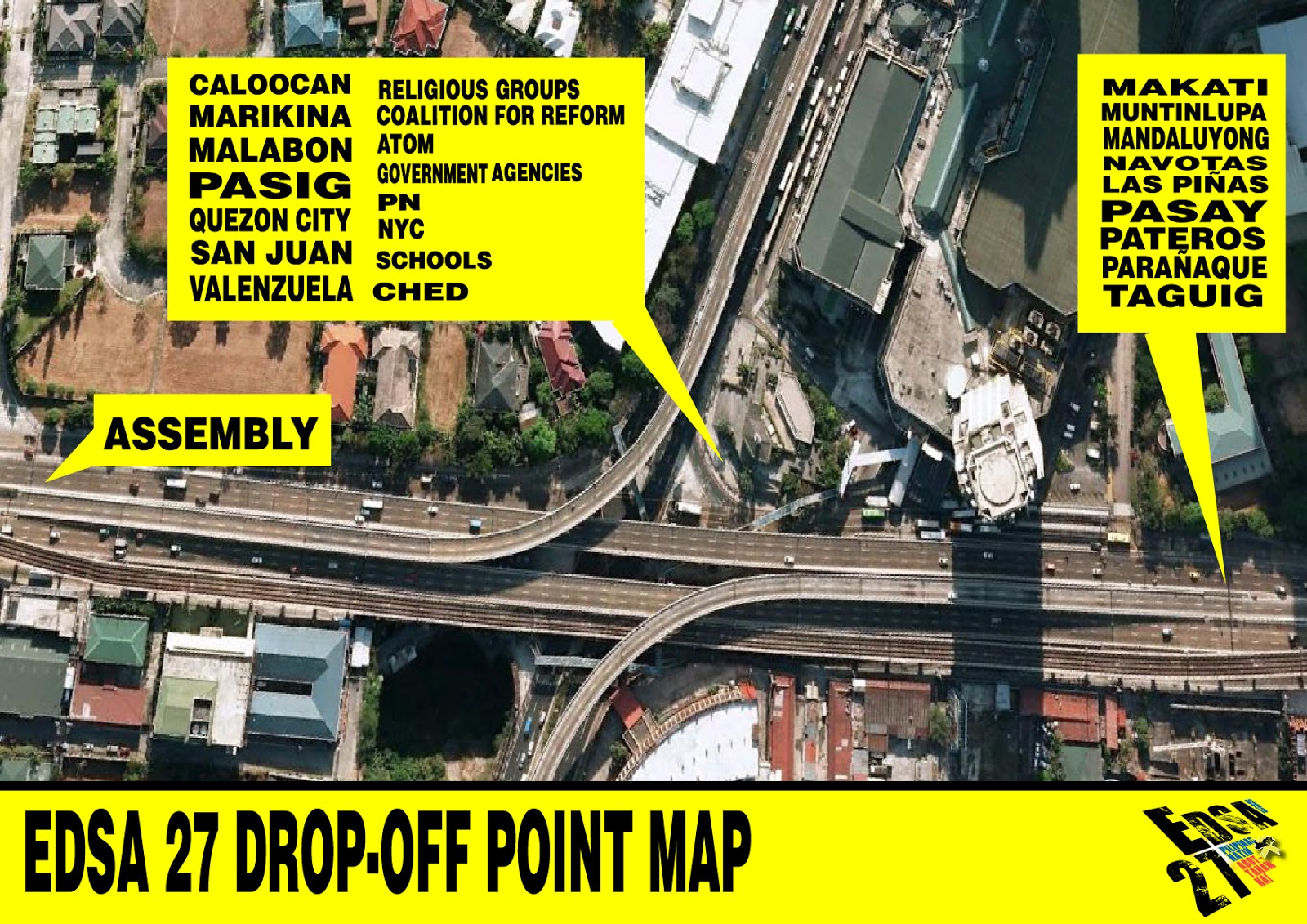implications of edsa 1 and 2 Commuting routes: from caloocan: route 1: bus from edsa, ride a bus to mia/naia route 2: lrt1-bus take the lrt1 to edsa station exit the station turn right at taft avenue, and walk about 1 block, past metropoint mall, until you get to edsa.