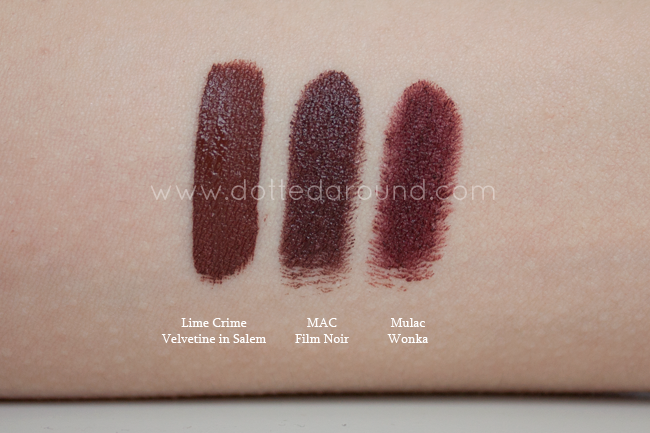 brown lipstick film noir mac salem lime crime wonka swatches
