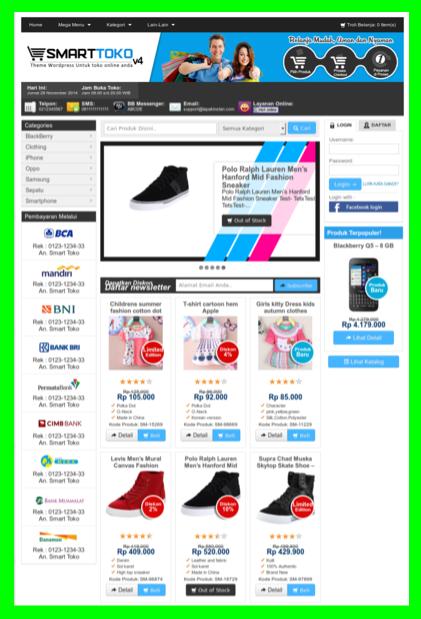 Template toko online blog