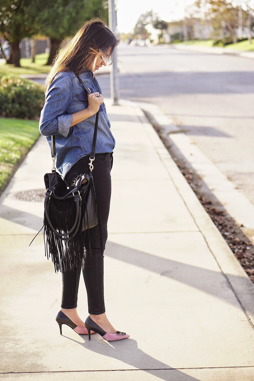 Jean Shirt, Joe Fresh, Joe Fresh Jean Shirt, JCPenney, Levis, Levis 535 Black Jeggings, Anna Xi Eye Heels, Deux Lux Fringe Tote, Deux Lux Joplin Large Tote, Eyes On Me Heels, How To Wear A Jean Shirt