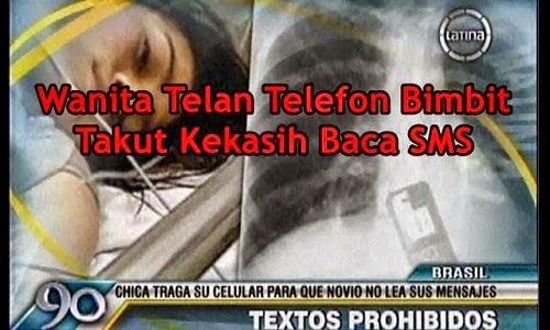telan telefon kekasih SMS