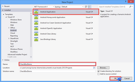 Create Android Application in Xamarin