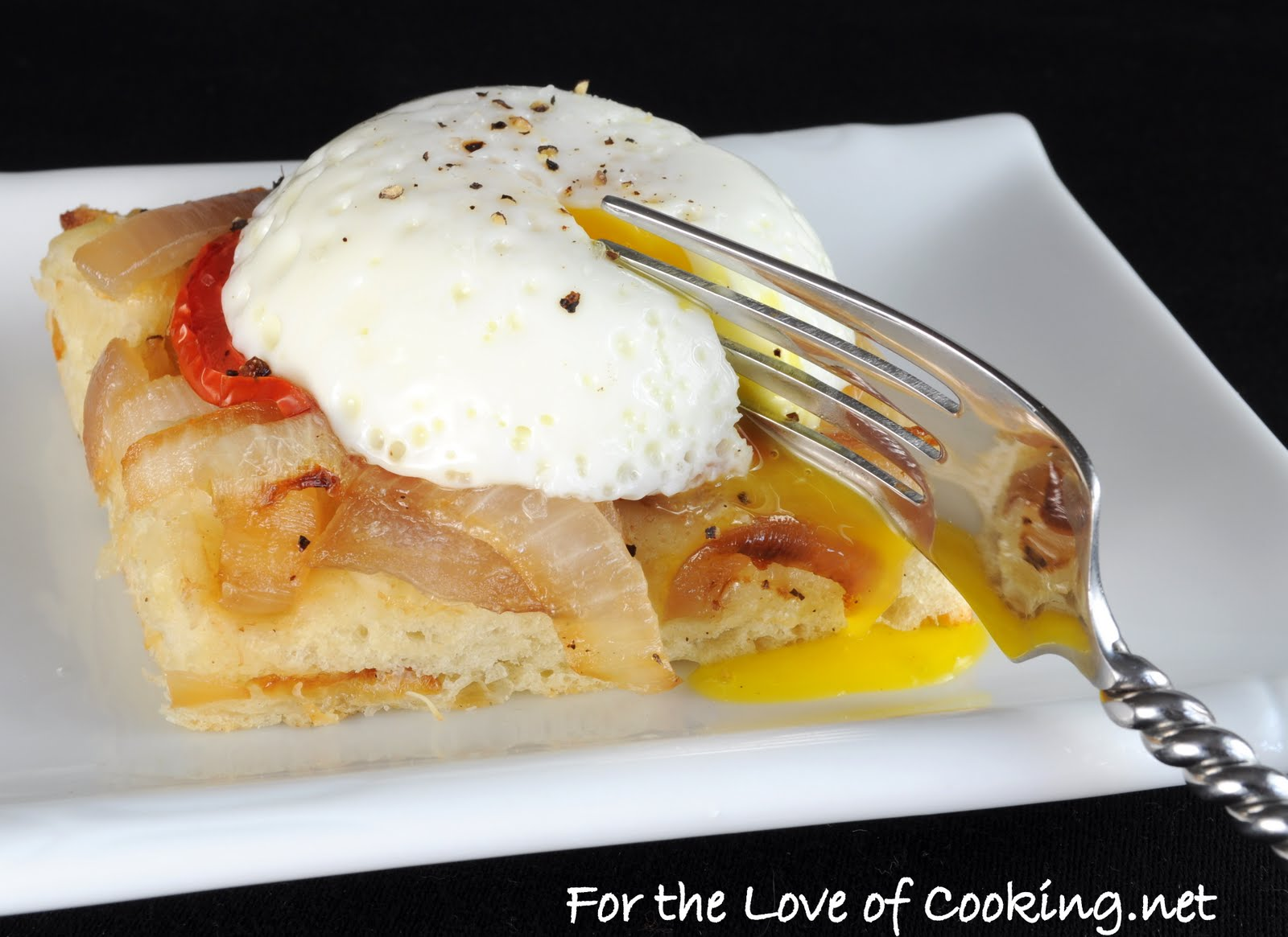 Poached Egg on Caramelized Onion, Tomato, and Asiago Focaccia | For ...