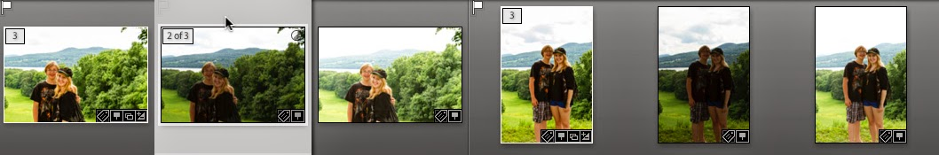 Two stacks of bracketed photos.  Selecting a photo in the stack reveals its position in the stack relative to the beginning.