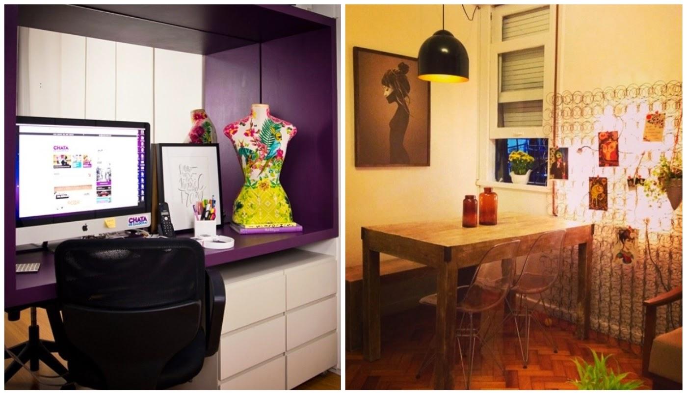 home office da Lu Ferreira @chatadegalocha e colchão de molas transformado em mural pela Thalita @casadecolorir