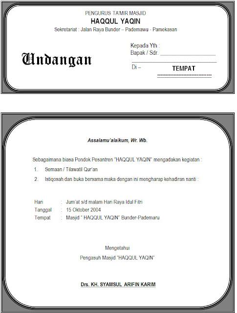 Download Contoh Undangan Istigosah, Tilatil Quran dan Buka Puasa ...