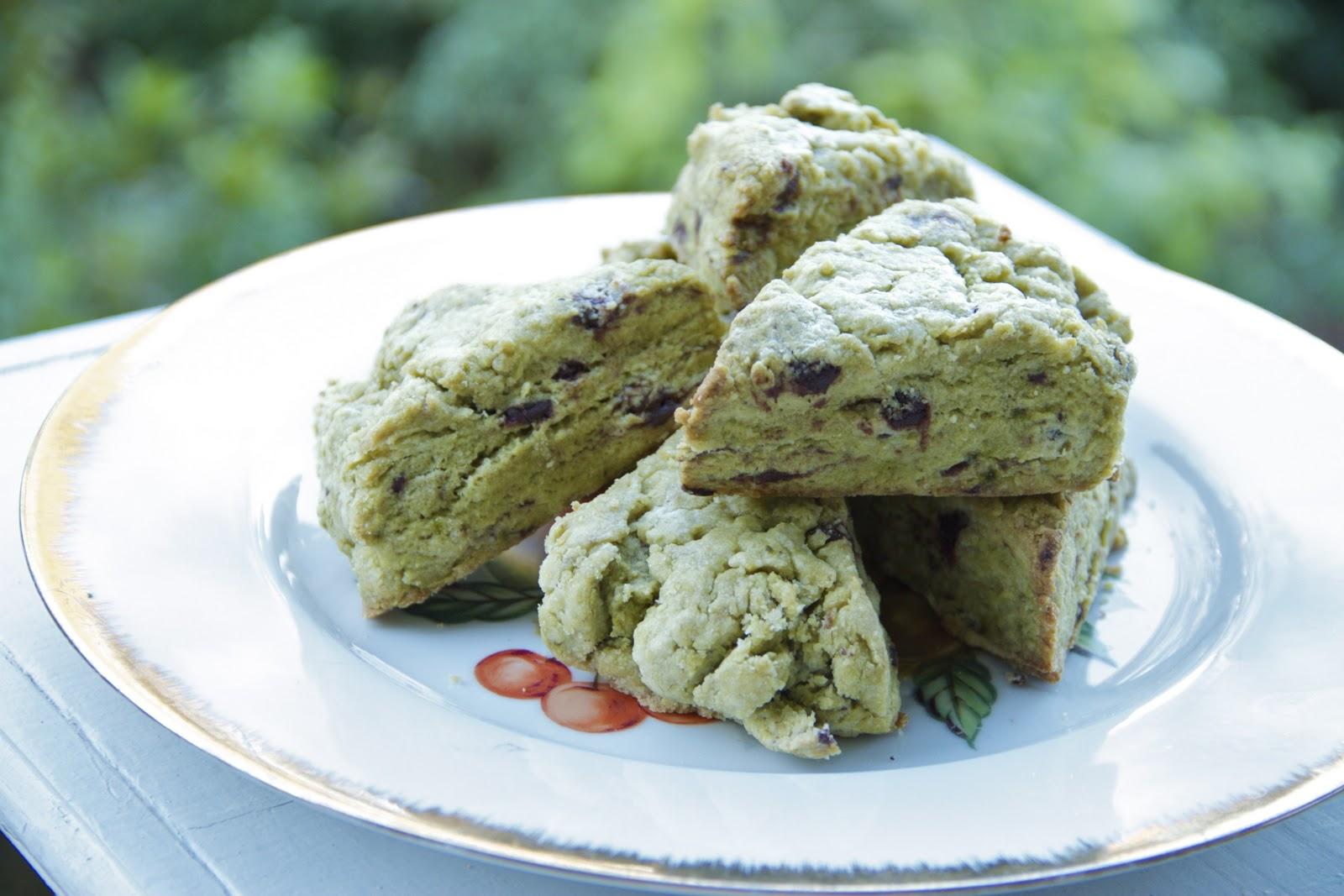 Green Tea And Dark Chocolate Scones