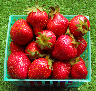 Basket of Bright Red Strawberries