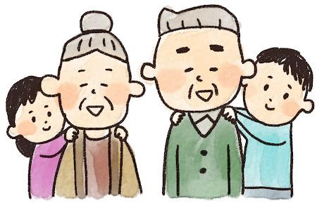 敬老の日のイラスト「孫とおじいさん・おばあさん」