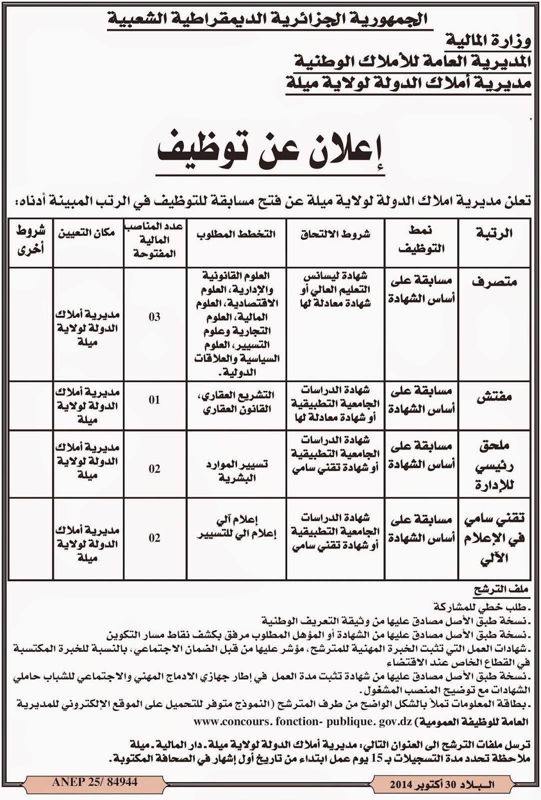 مسابقات توظيف في مديرية أملاك الدولة لولاية ميلة أكتوبر 2014