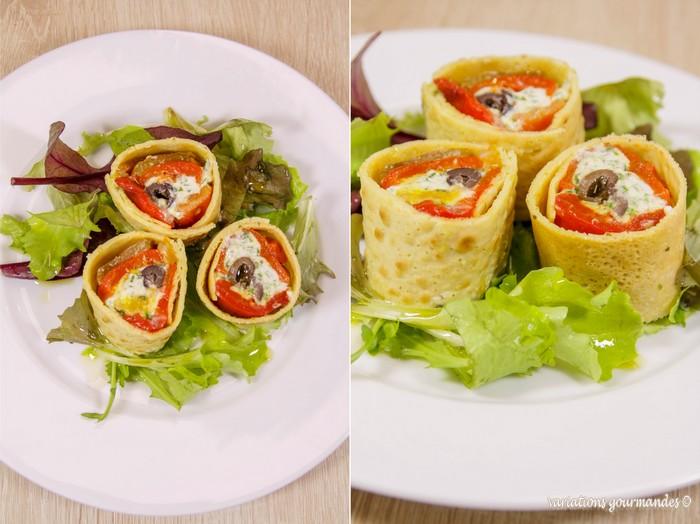 Variations Gourmandes Roules De Crepes De Pois Chiche Aux Poivrons