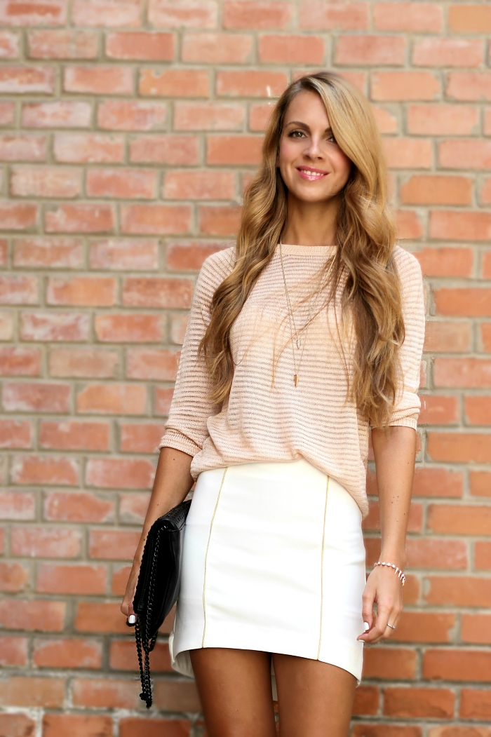 pastel outfit, street style, neutral colors, Zara heels bag, Mango sweater