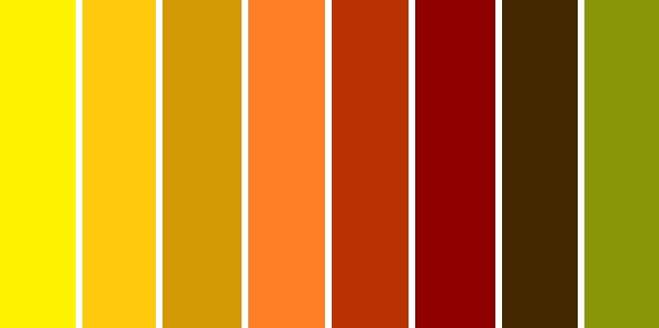 Autumn Color Palette Yellow Gold Caramel Orange Rust Apple Red Chocolate Brown And Olive Green