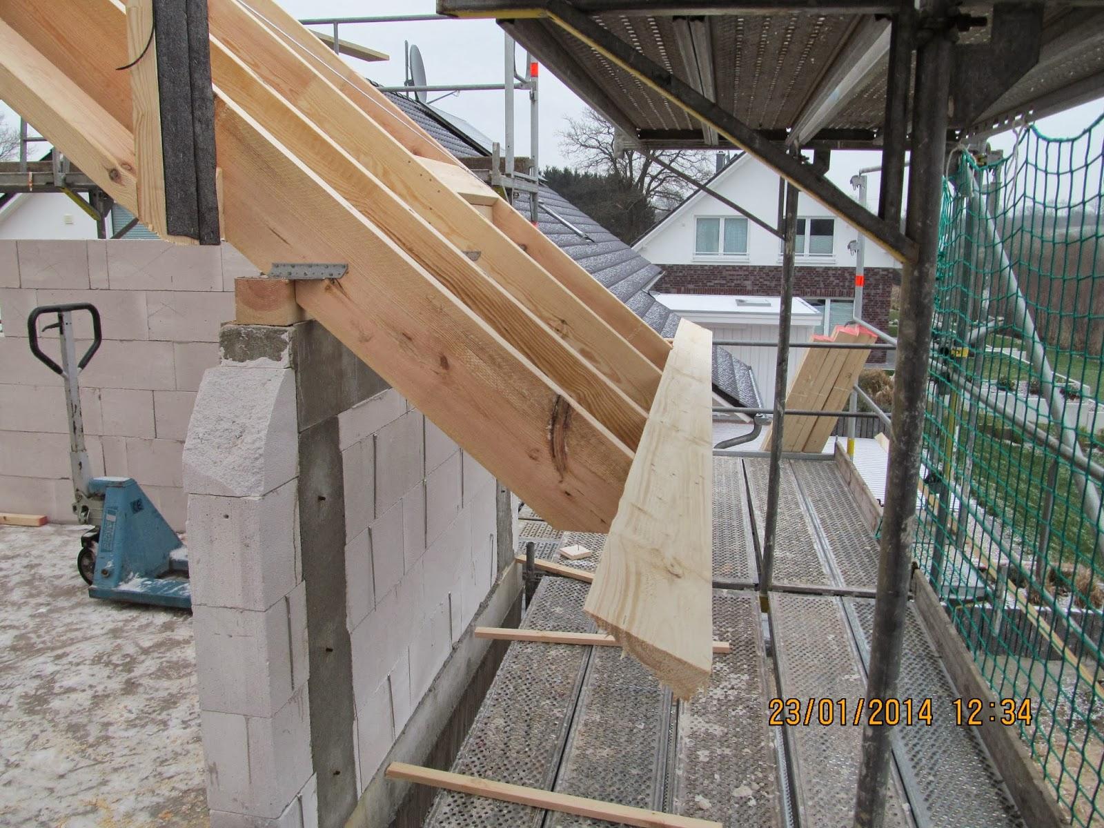 Traufbohle  Unser Luftschloss: Dachstuhl - Fortschritte