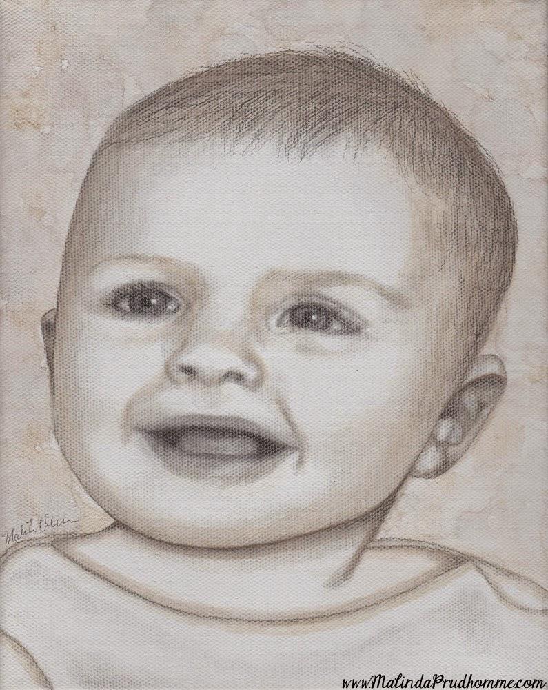 baby portraits, babies, baby art, portrait artist, portrait artwork, toronto portrait artist, affordable baby portrait, mixed media art, mixed media artist, baby, pencil, watercolour, black and white artwork