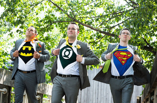 superhero wedding groom's friends