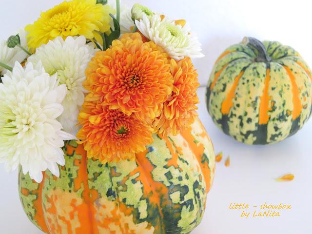 Herbstliches d i y blumen im k rbis little showbox for Herbstdeko mit kurbis