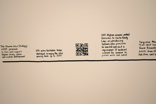Timeline installation, 'After Afghanistan' NAS Gallery 2013