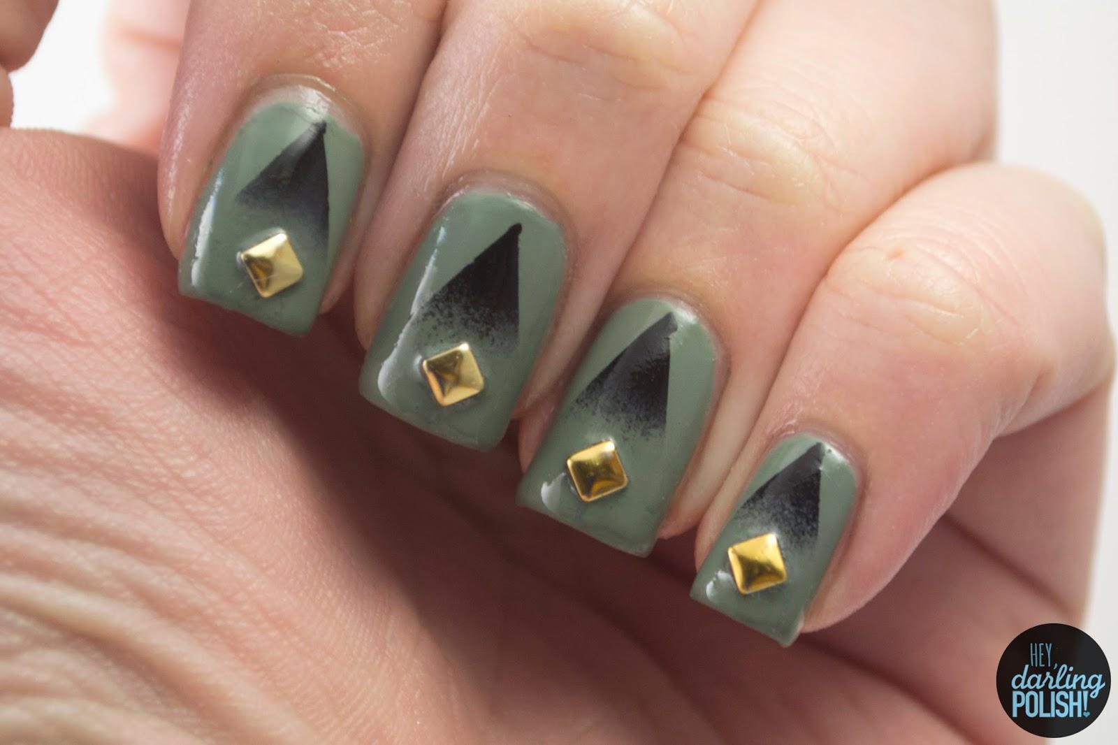 nails, nail art, nail polish, indie, indie polish, indie nail polish, boutique, hey darling polish, green, black, cult nails, gradients, studs