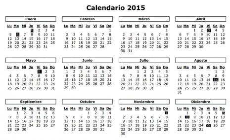 Calendario 2015 para colorear ~ Dibujos para Colorear Infantil