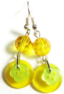 Drop dangle earrings with fun flower buttons and bright sunny beads