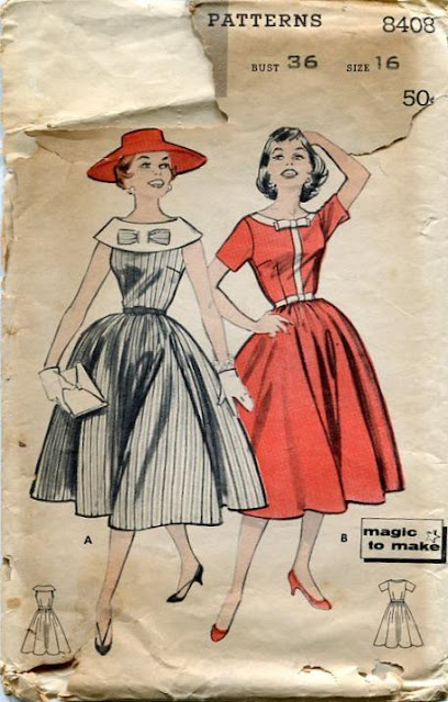 1950s dress sewing pattern bow Just Peachy, Darling