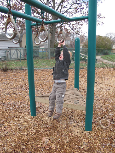 Porter Hanging from Monkey Bars