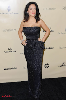 Salma Hayek Pictures in Black Shoulderless Dress at Weinstein Company Golden Globes Party  0004