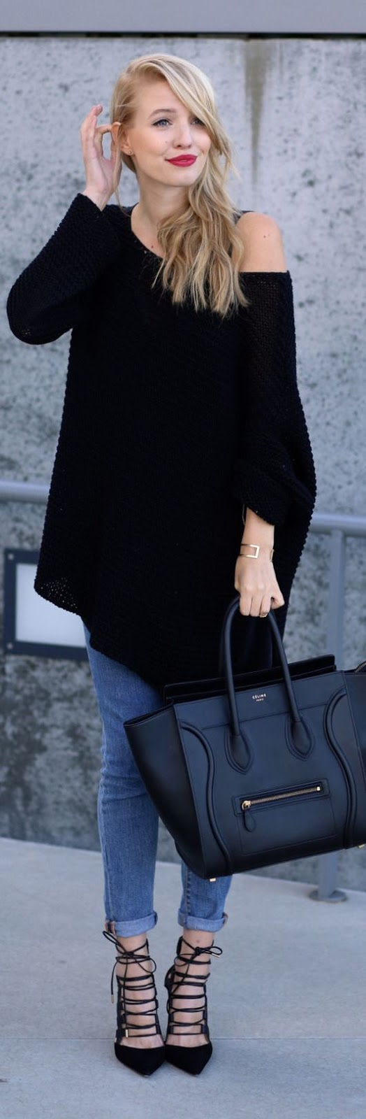 street style oversize off the shoulder black sweater with denim luvtolook curating fashion. Black Bedroom Furniture Sets. Home Design Ideas