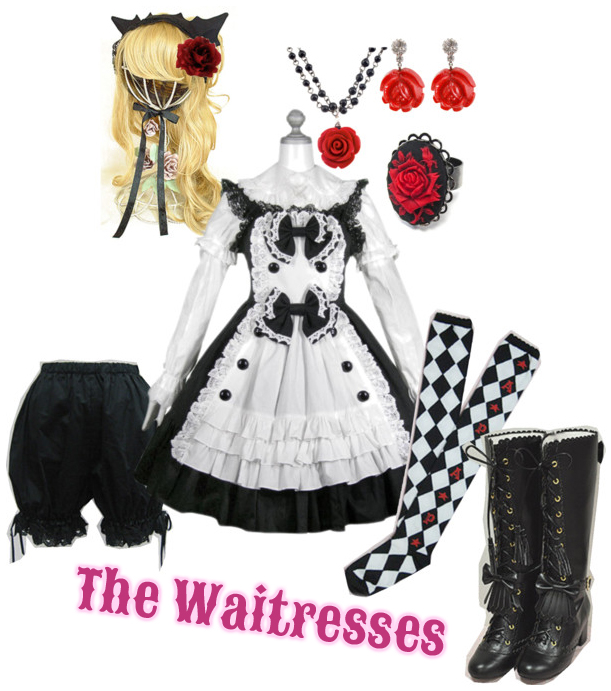 The waitresses outfits in the Lolita Cafe