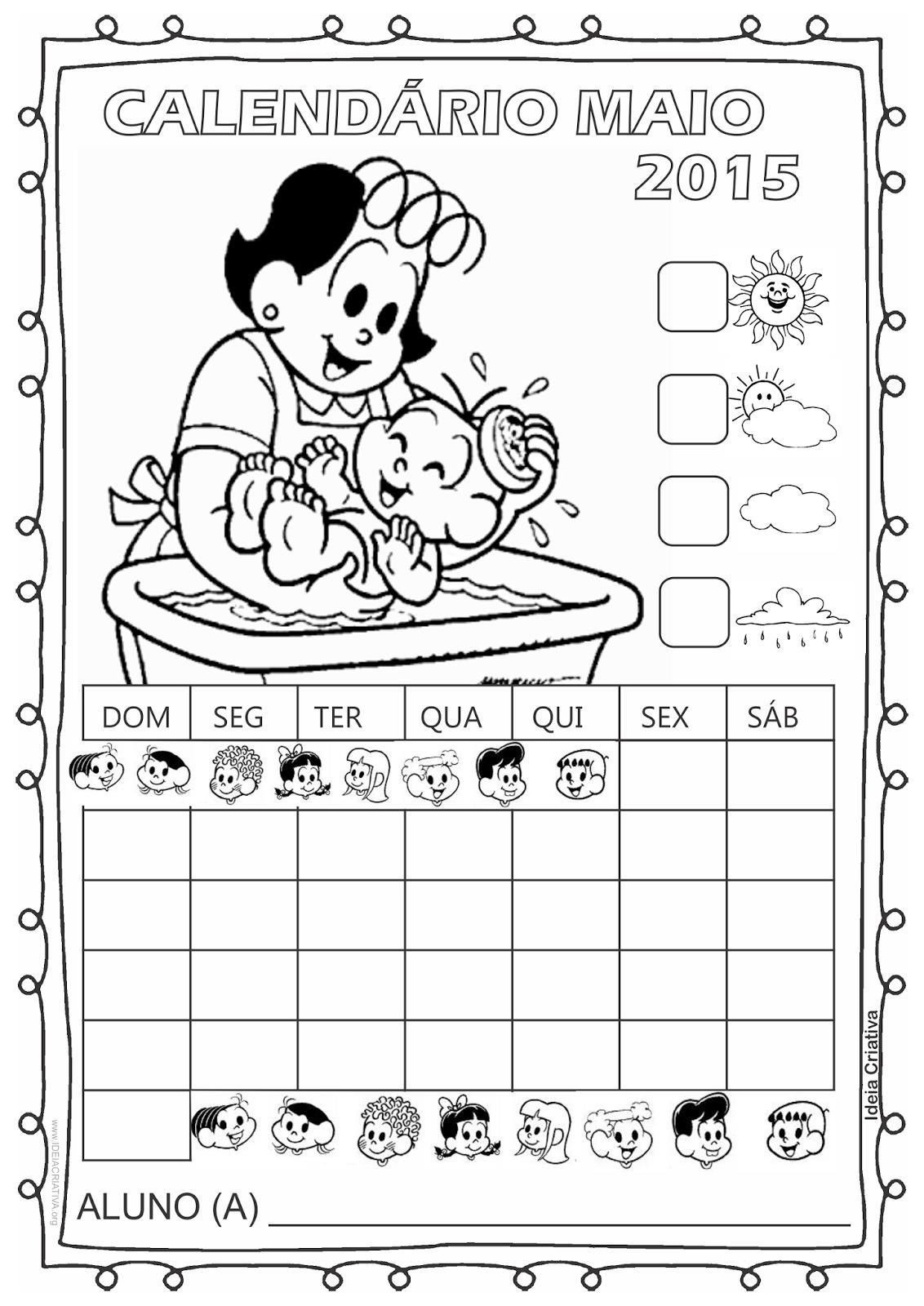 Calendário Turma da Mônica 2015 para Imprimir Grátis Abril dia das mães  sem numeração