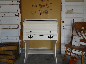 Antique White Roll Top Desk-$250