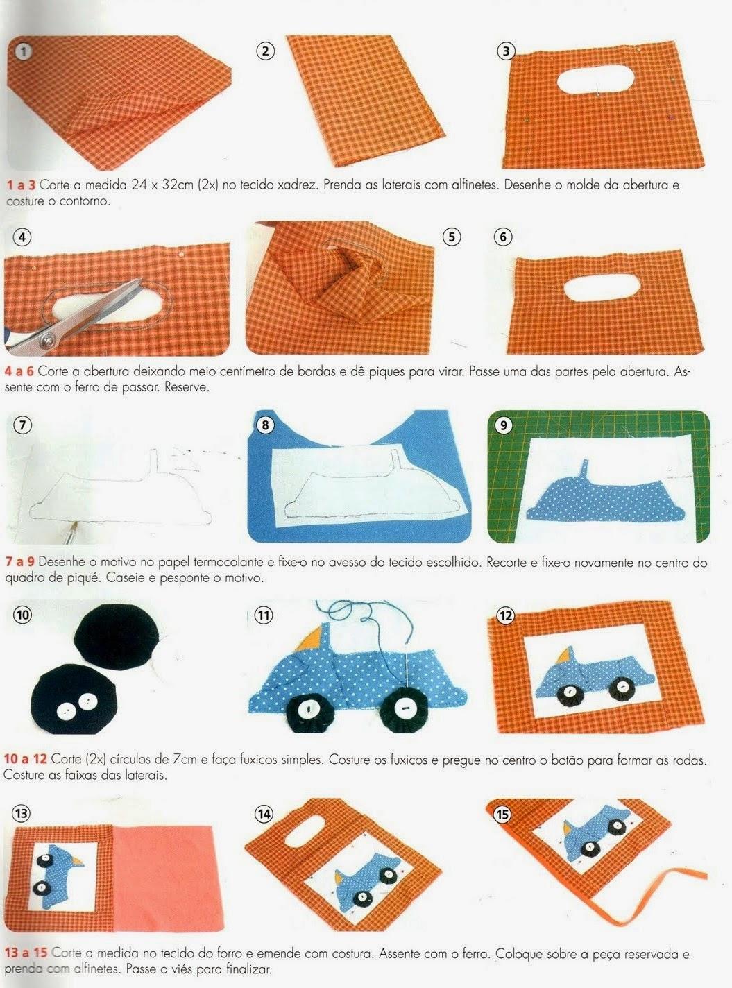 Lixeira para carro com patchwork