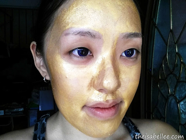 Piolang 24K Gold Wrapping Mask after it has dried