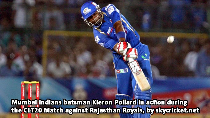 MI batsman Pollard hitting a shot against Rajasthan Royals