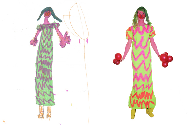 A drawing of a lady in a green zig-zag dress by Rose (on the left) and a photograph of me dressed up as the drawing (on the right).