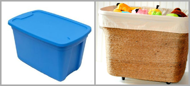 Jute Wrapped Toy Bin - Before & After
