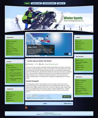 Winter Sports Blogger Template. free sport blogger template