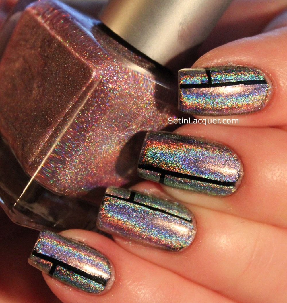 Tape nail art with holographic polishes - Set in Lacquer