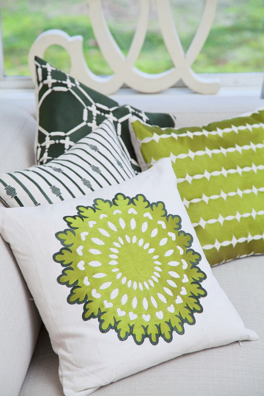 COCOCOZY 2014 Embroidered Pillow Collection in shades of green