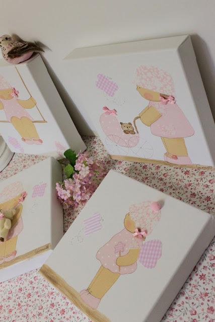 cuadros infantiles personalizados, pintados a mano y con detalles en tela y relieves