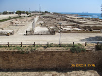 Shoreline with foundations from multiple civilizations, Caesarea, Israel