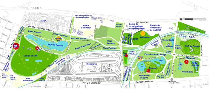 Parque tres de febrero ubicaci n del parque tres de febrero for Puertas 3 de febrero