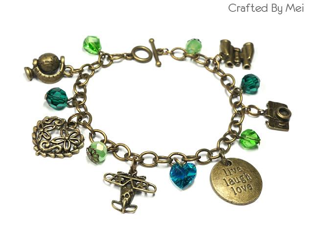 green Beaded Charm Bracelets